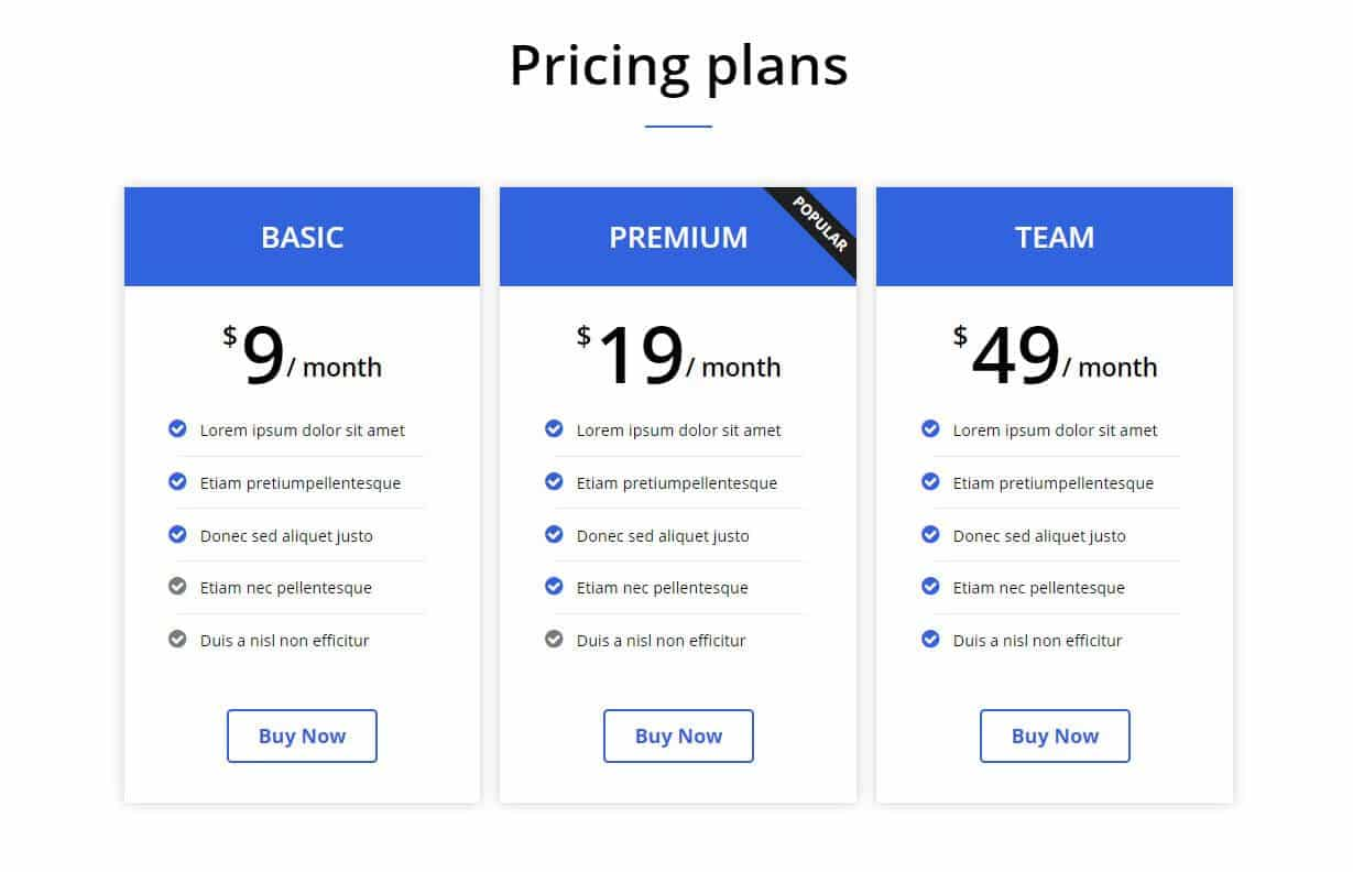 elementor pricing table template 4