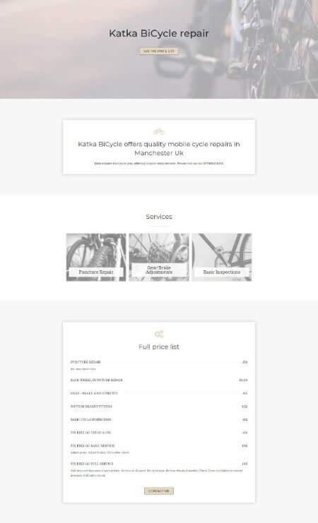 elementor bicycle repair shop landing page template