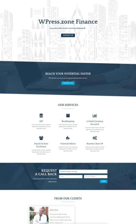 elementor finance home page template