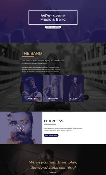 elementor music event landing page template