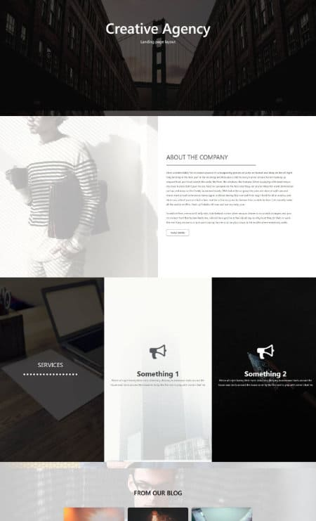 elementor creative landing page template