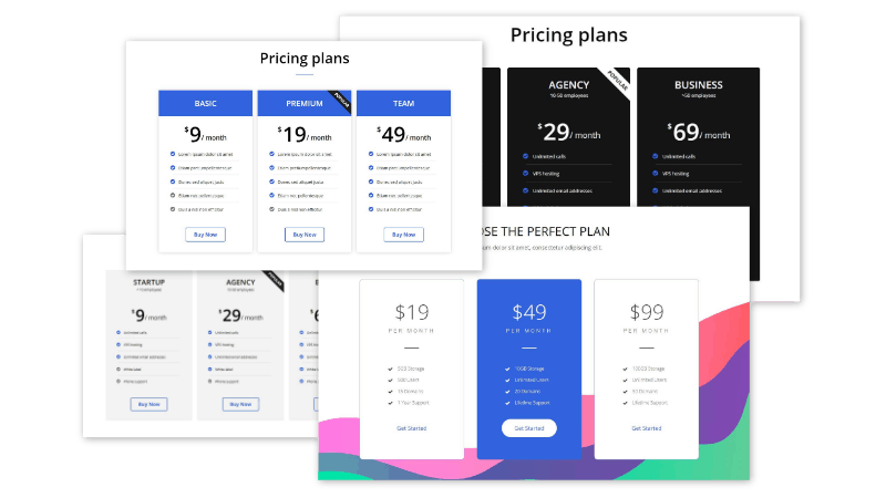 pricing box Elementor section blocks