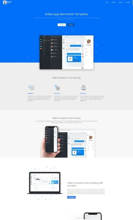Katka App Elementor Landing Page Template
