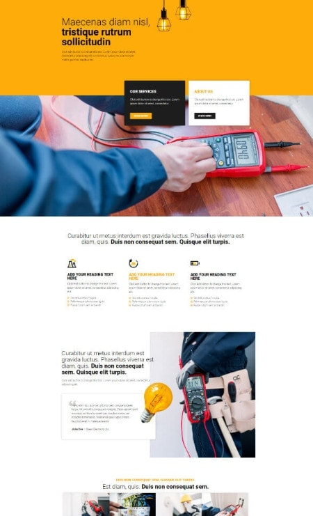 Katka Pro Electrician Landing page Elementor template