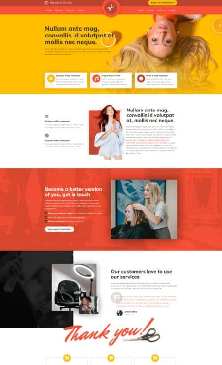 Katka Pro Hairdresser beauty - Landing page template