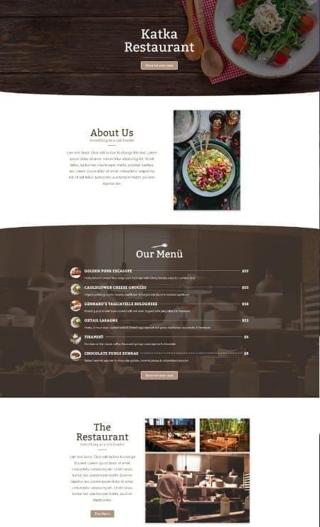 Katka Restaurant - Elementor Landing page template