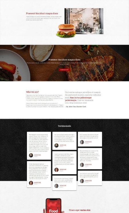 Katka Woo Food Takeaway - Elementor About Us page template