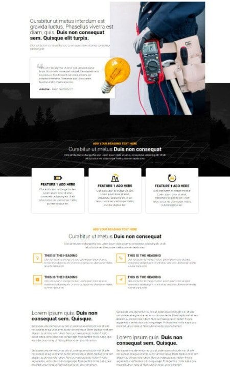 Katka Pro Electrician Services Elementor page template