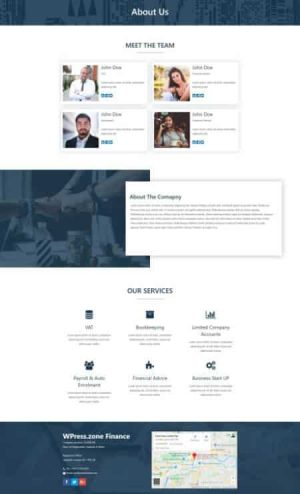 elementor finance about us page template