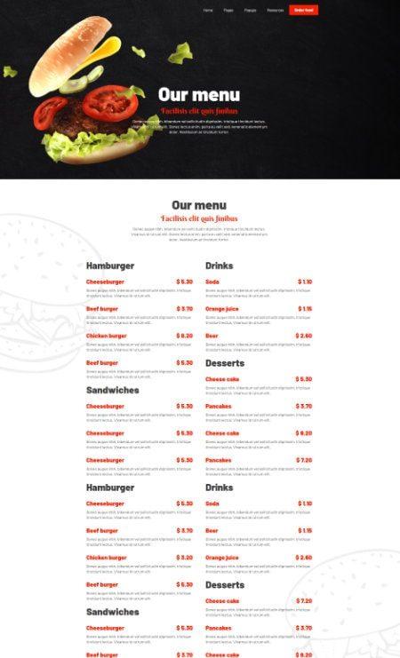 katka hamburger order menu